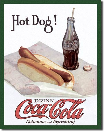 COKE Hot Dog Tin Sign 2