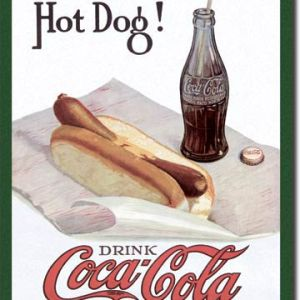 COKE Hot Dog Tin Sign 2