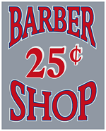 BAR-002 - Barber Shop 25 Cents Decal