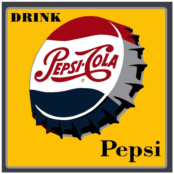 PEPSI:PEP-016-Drink Pepsi Bottle Cap-Square Decal