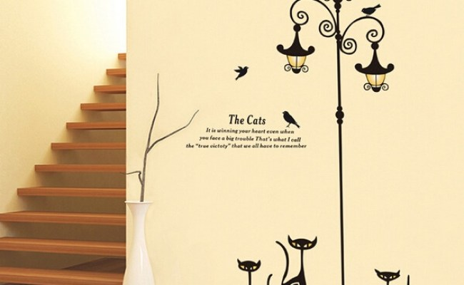Popular Ancient Lamp Cats And Birds Wall Sticker Online