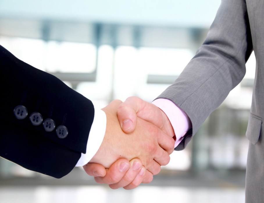 Handshake between two businessmen.