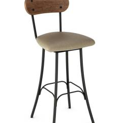 French Country Dining Chairs With Arms Low Back Beach Amisco Bean Swivel Stool W/ Wood Back, Seat Cushion - Free Shipping!