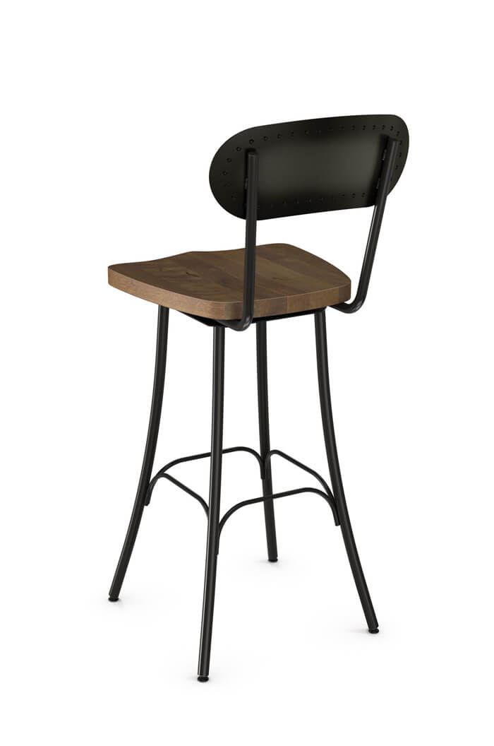chair stool with back designer office chairs amisco bean swivel w wood seat industrial comfortable s bar metal
