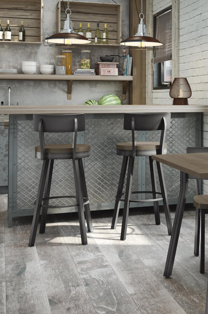 Amiscos Lauren Swivel Counter Stool w Distressed Wood Seat