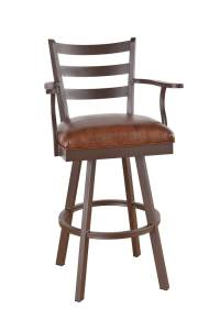 Elegant Wood Swivel Bar Stools with Back and Arms ...