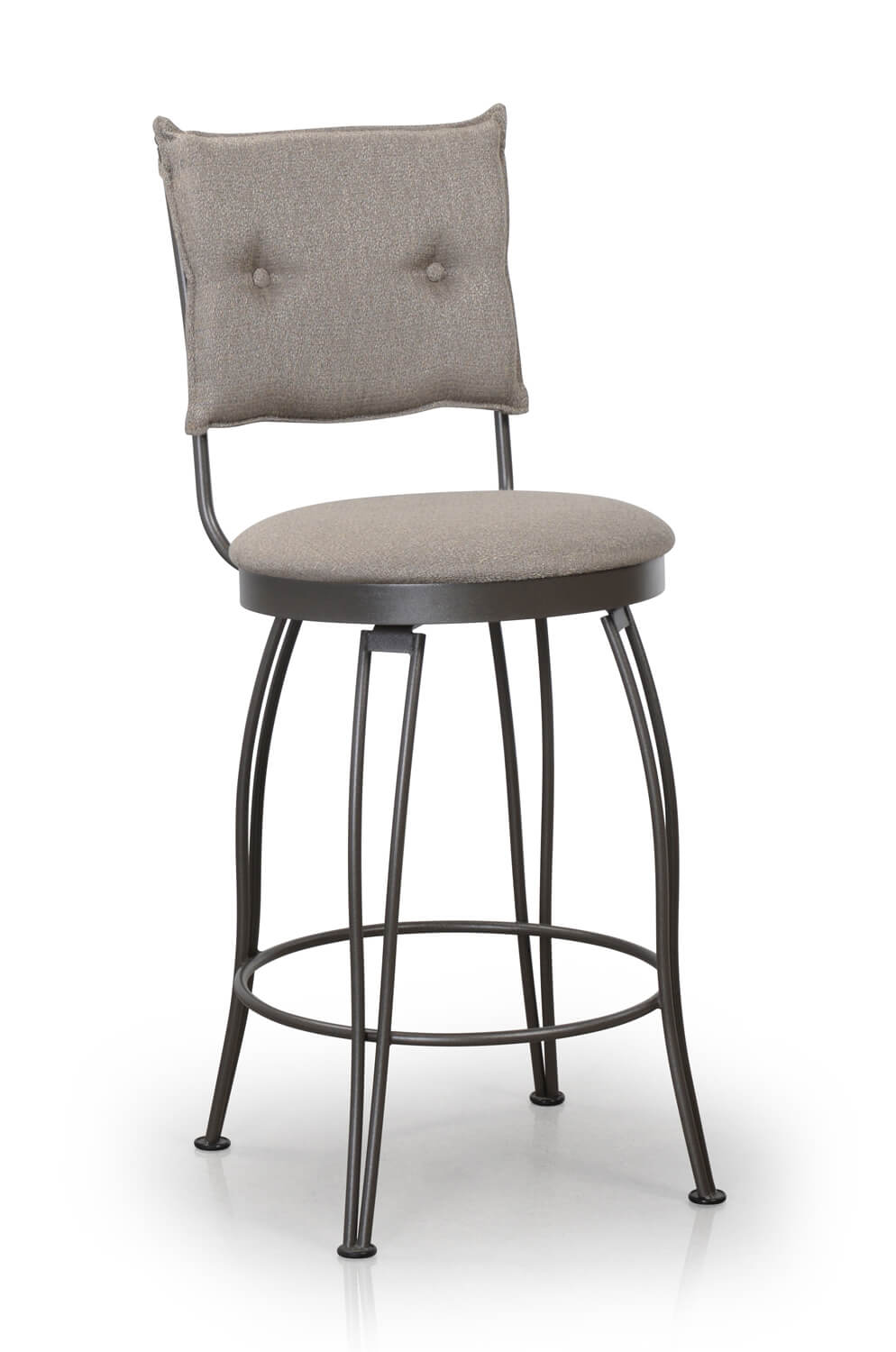 Trica Bill Swivel Stool w ButtonTufted Upholstered Back