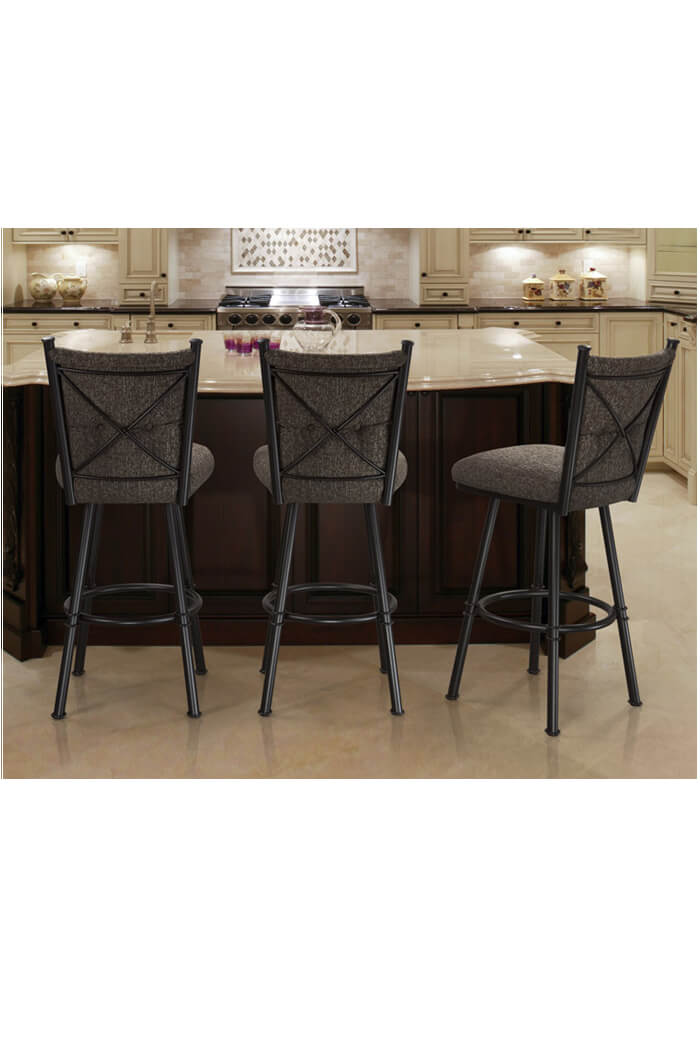 upholstered counter height chair dye buy trica's arthur swivel stool w/ button-tufted high back
