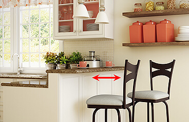Tip Distance needed between a stool and a wall