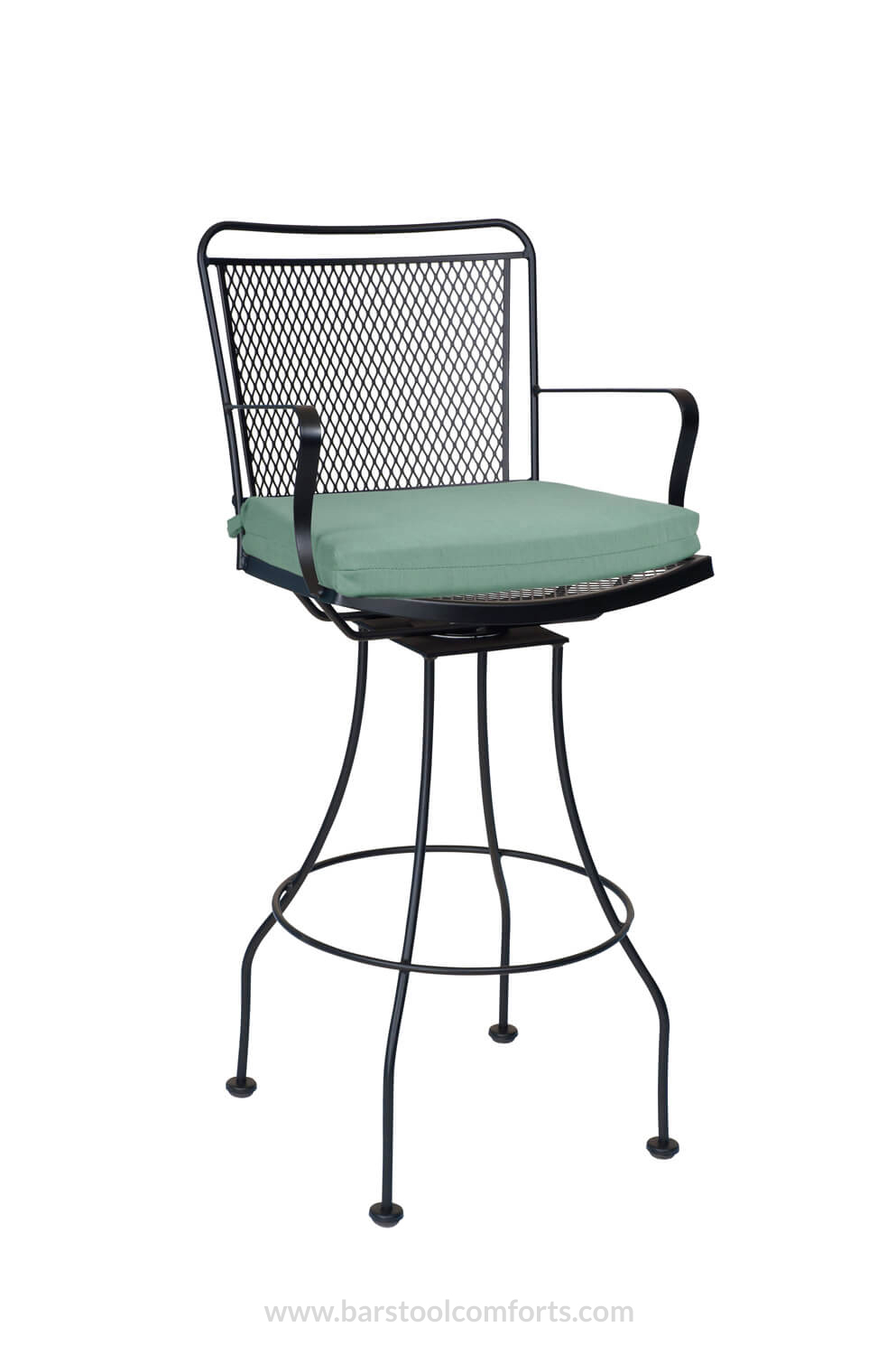 outdoor bar chairs blue office woodard s constantine wrought iron swivel stool seat cushion with