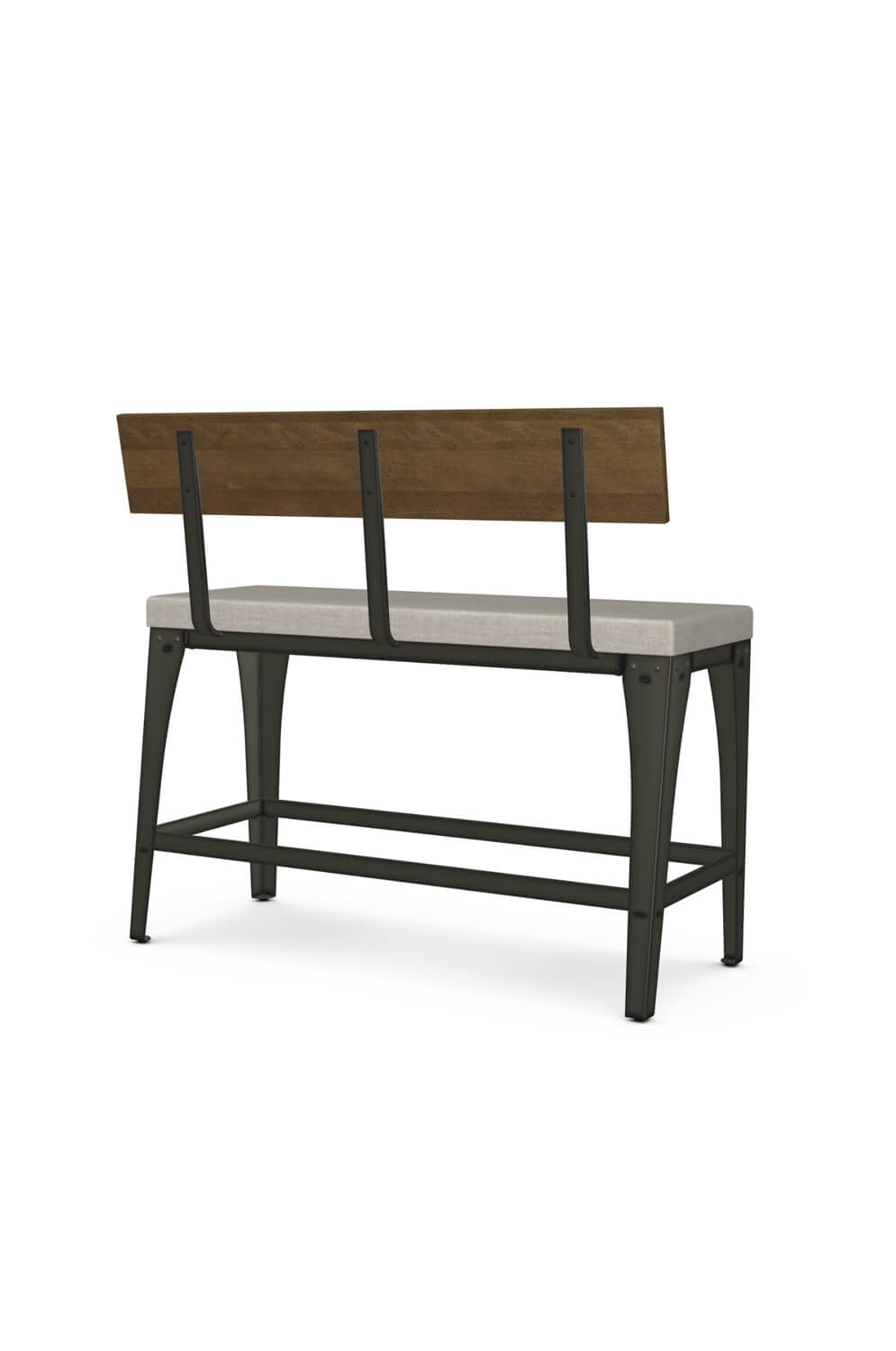 Amisco S Architect Industrial Counter Height Bench With Back And Cushion