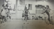 Paul Tankey throws a free throw - Final shot against Merced College. Barstow College became 1980 State Champions! (Merced: 58 to Barstow: 61 with 0:09 sec on the clock)