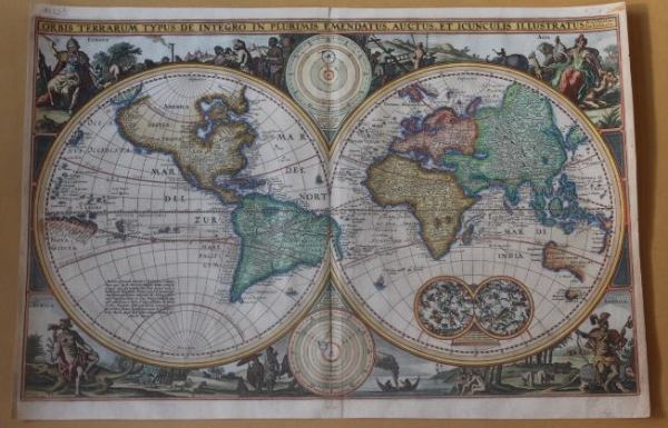 antique world map twin hemisphere