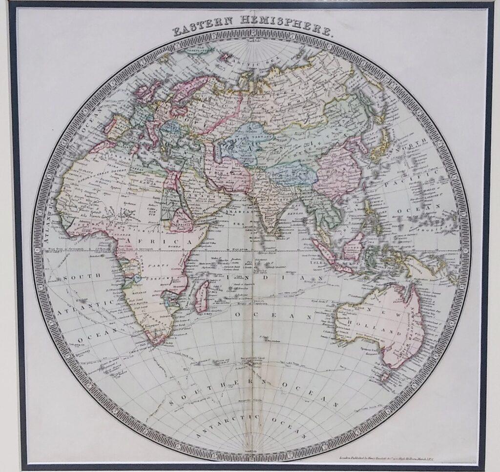 Antique World Map Eastern Hemisphere By H Teesdalebartele