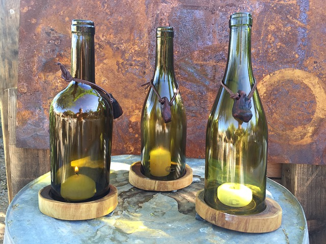 up cycling wine-bottle candle