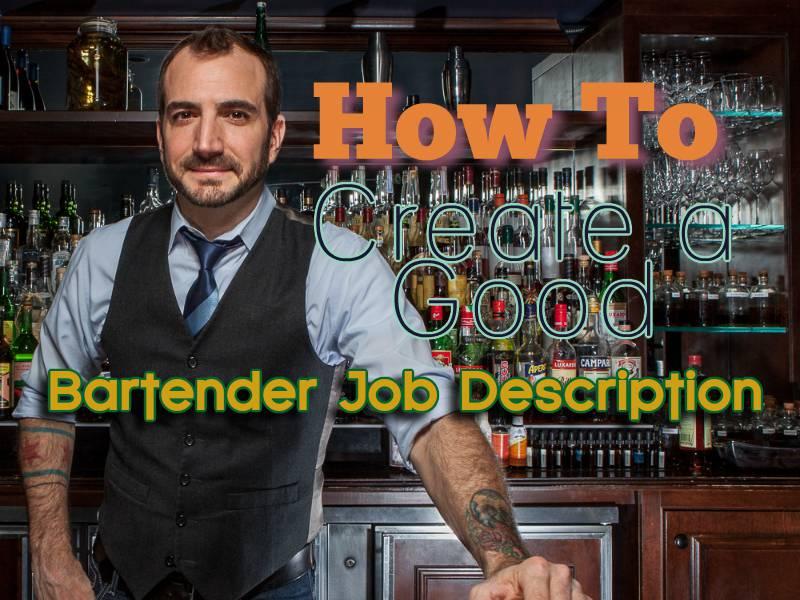 Bartender Job Description Sample Resume