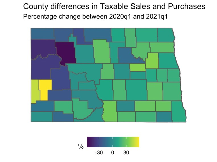 Changes in County Taxable Sales and Purchases