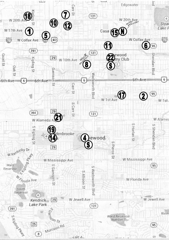 Map of Historic Locations in Lakewood, Colorado
