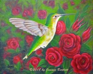 Hummingbird and Roses WEB
