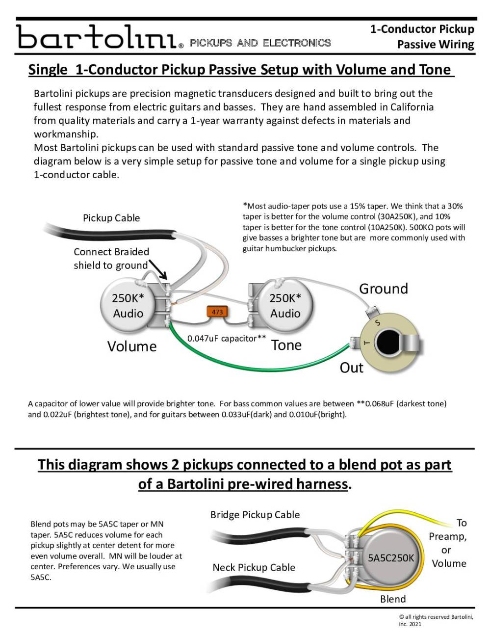 medium resolution of pickup wiring 1 conductor tct wiring diagram