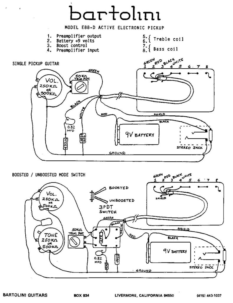 hight resolution of e88 d active humbucker wiring