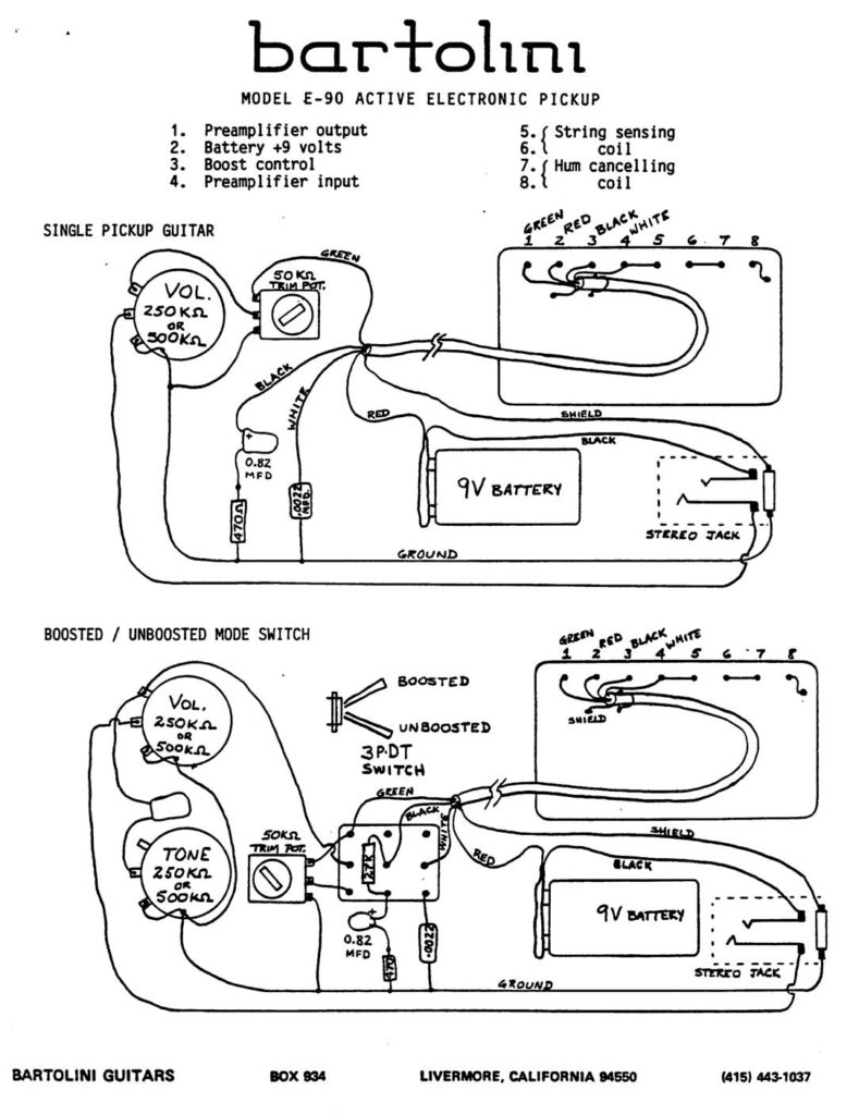 hight resolution of e90 active humbucker wiring