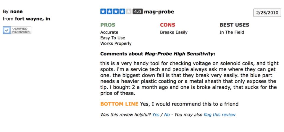 Bartol Mag-Probe Reviews