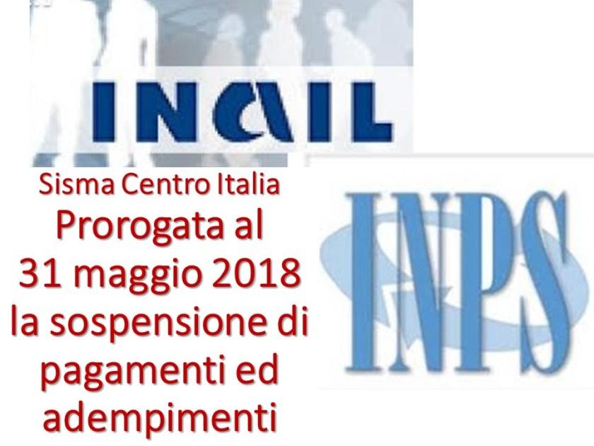 Sisma Centro Italia SOSPENSIONE 31 maggio 2018