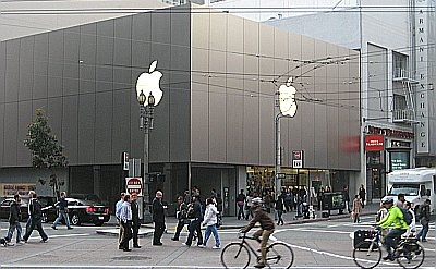 The Apple store on Market, conveniently located next to the Men's Wearhouse.