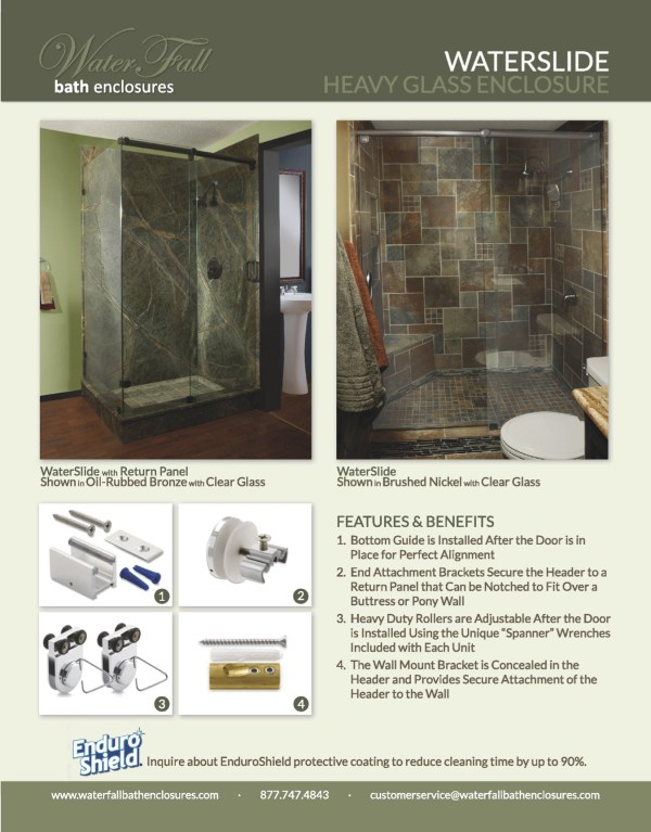 A Waterslide Custom Frameless Shower Enclosure