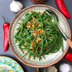 Green beans with pine nuts, garlic and chilli