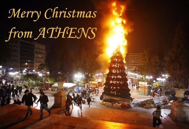 """Lo scorso dicembre, ad Atene... augurando al PASOK un """"caldo natale"""" già da ora"""