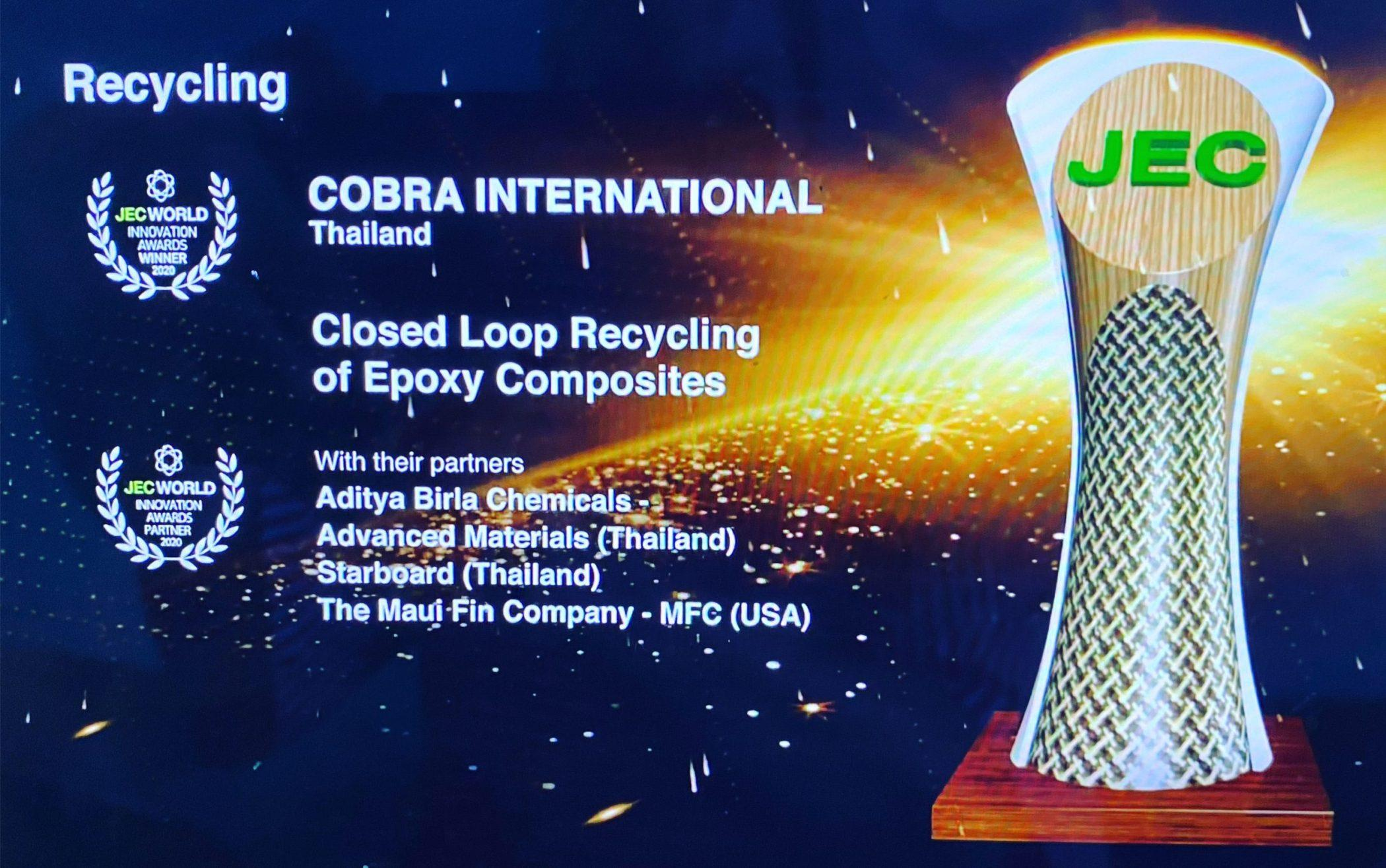 Betacryl Pure Acrylic Stone loop recycling of epoxy parts technology wins jec