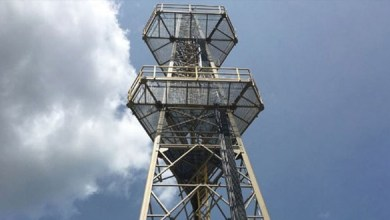 Photo of CSSI installed entirely composite communications tower in Massachusetts