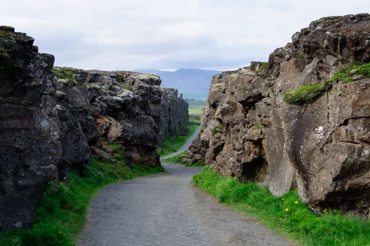 The continental drift between the North American and Eurasian Plates.