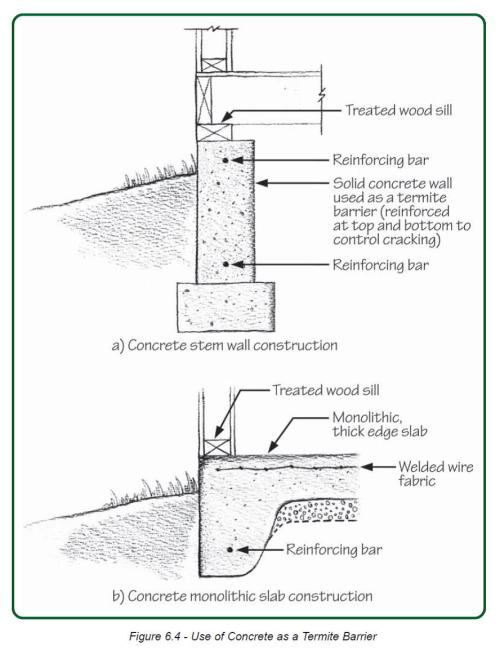 small resolution of reinforce concrete slab and foundation walls to minimize future cracks that could let in pests