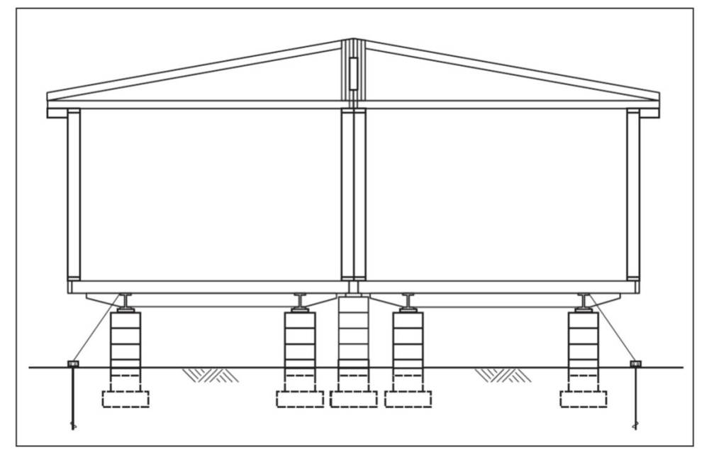 medium resolution of a typical two section modular home installation on a pier and ground anchor system