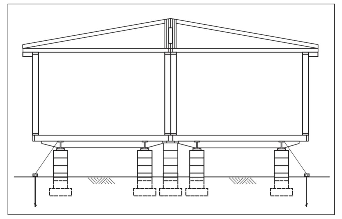 hight resolution of a typical two section modular home installation on a pier and ground anchor system