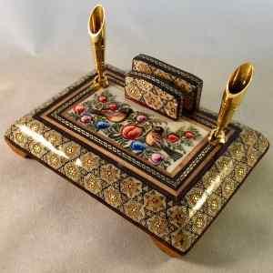 Persischer Stift- und Briefhalter von Hand mit Khatam Kari verziert und bemalt