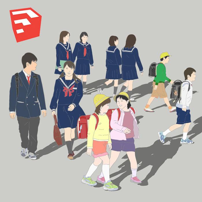 小中學生イラストSketchUp素材 4u_001 | SketchUpチューリップ-人物/樹木素材