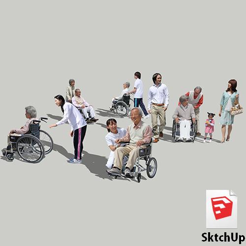 人物SketchUp 4p_set042 | SketchUpチューリップ-人物/樹木素材