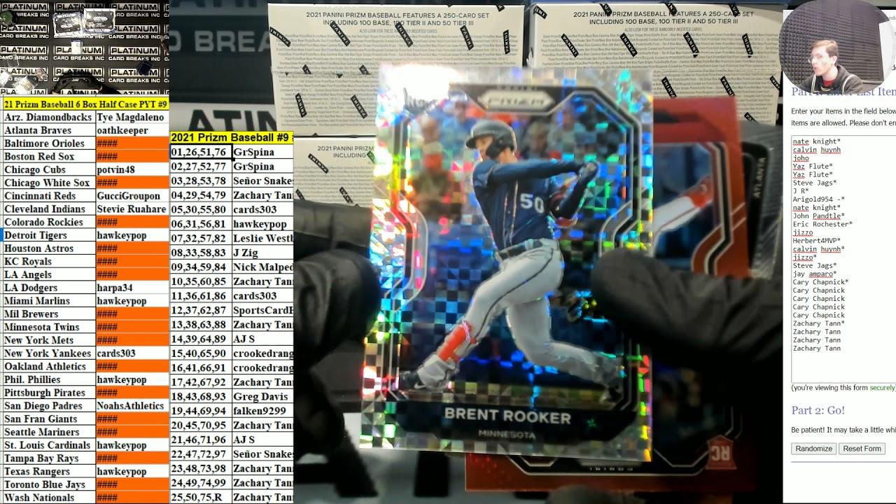 2021 Panini Prizm Baseball 6 Box Half Case Pick Your Team 9 - 2021 Panini Prizm Baseball 6 Box Half Case Pick Your Team #9