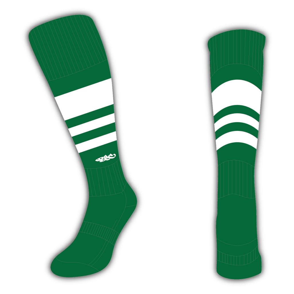 Wildcard Socks - Bottle Green & White