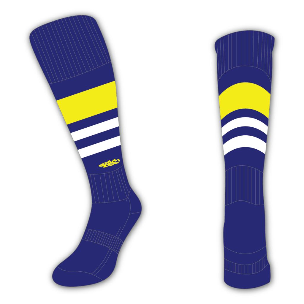 Wildcard Socks - Navy Blue, Yellow & White