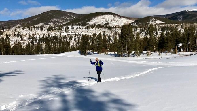 Stella, off tracking, in her Fischer Spider Nordic Skis