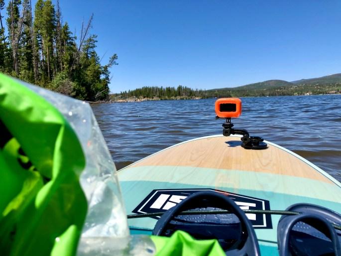 Relaxing while paddling Shadow Mountain Lake