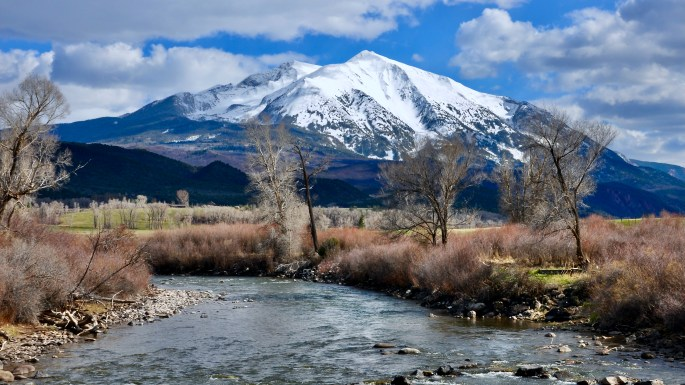 Mt Sopris located south of Glenwood Springs