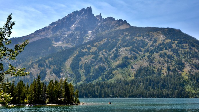 Teewinot Mountain, as view from the shores of Jenny Lake, Grand Teton National Park