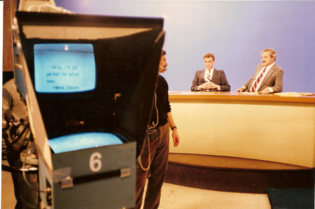 Teleprompter screen circa 1975-1980
