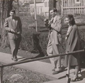 Robin Macauley, Arthur Koestler, and Flannery O'Connor, 9 October 1947 (courtesy Robie MacCauley)